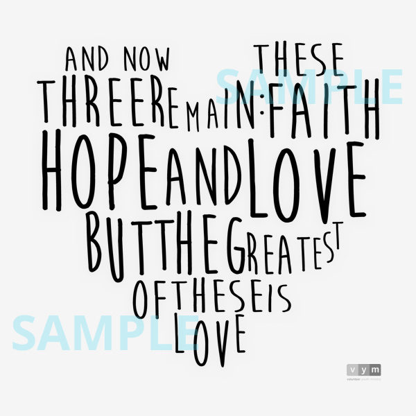 Faith Hope Love - black sample